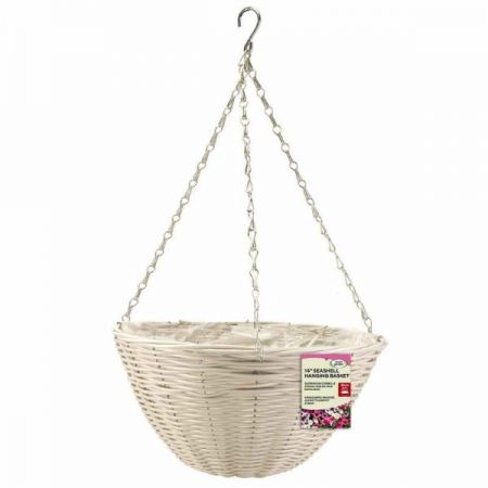 14in Seashell Faux Rattan Hanging Basket - image 1
